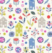 Lewis & Irene - Hann's House - 5807 - Modern Floral & Houses on White  - A276.1 - Cotton Fabric